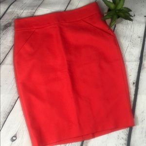 J. Crew Pencil Skirt Cotton Orange Red